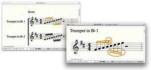 赤丸で囲んだ箇所のように、スコア譜に影響を与えずにパート譜のみ道具箱ツールでの連桁調整が可能