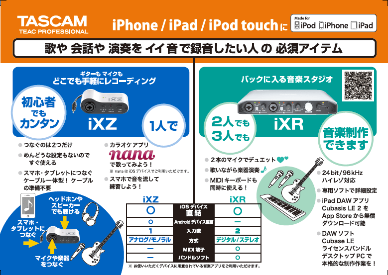 TASCAM iXZとiXRの比較