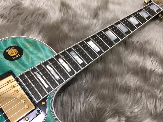 Les Paul Custom 3A Quilt M2M AQUA BLUEの指板画像