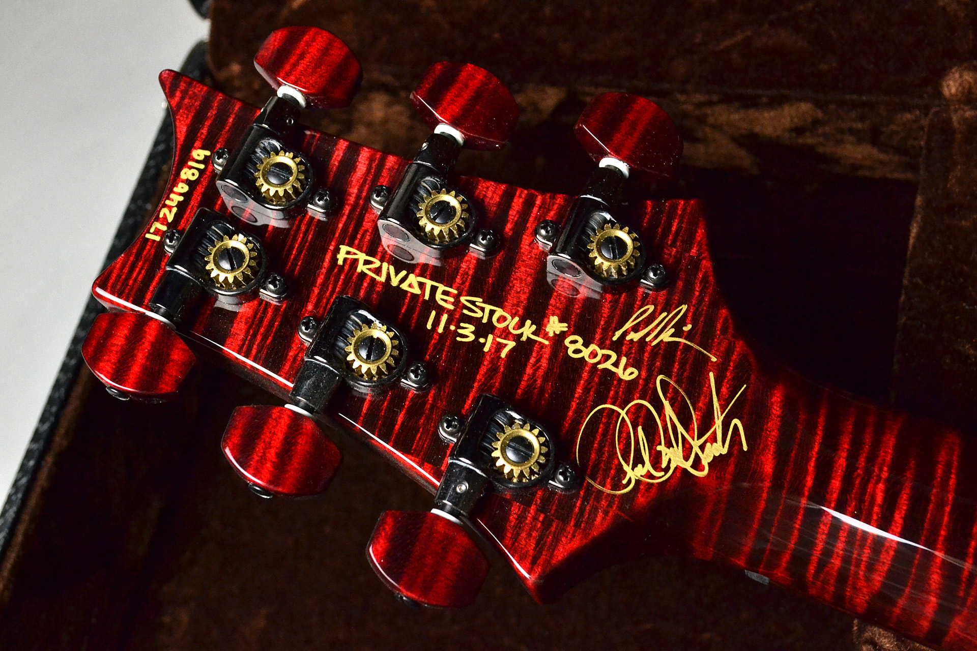 Private Stock #8026 Custom24 McCarty Thickness Stoptail Red Tigerのヘッド裏-アップ画像