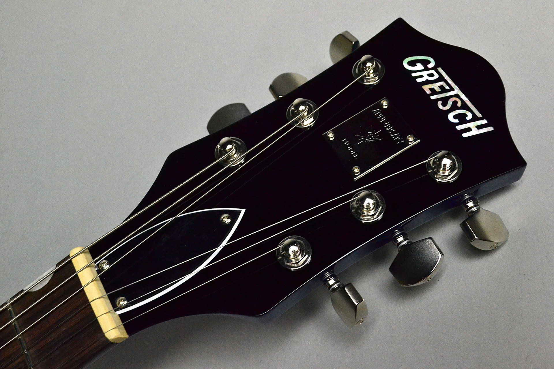 G6118T Players Edition Anniversary 2-Tone Iridium Silver/Azure Metallicのヘッド画像