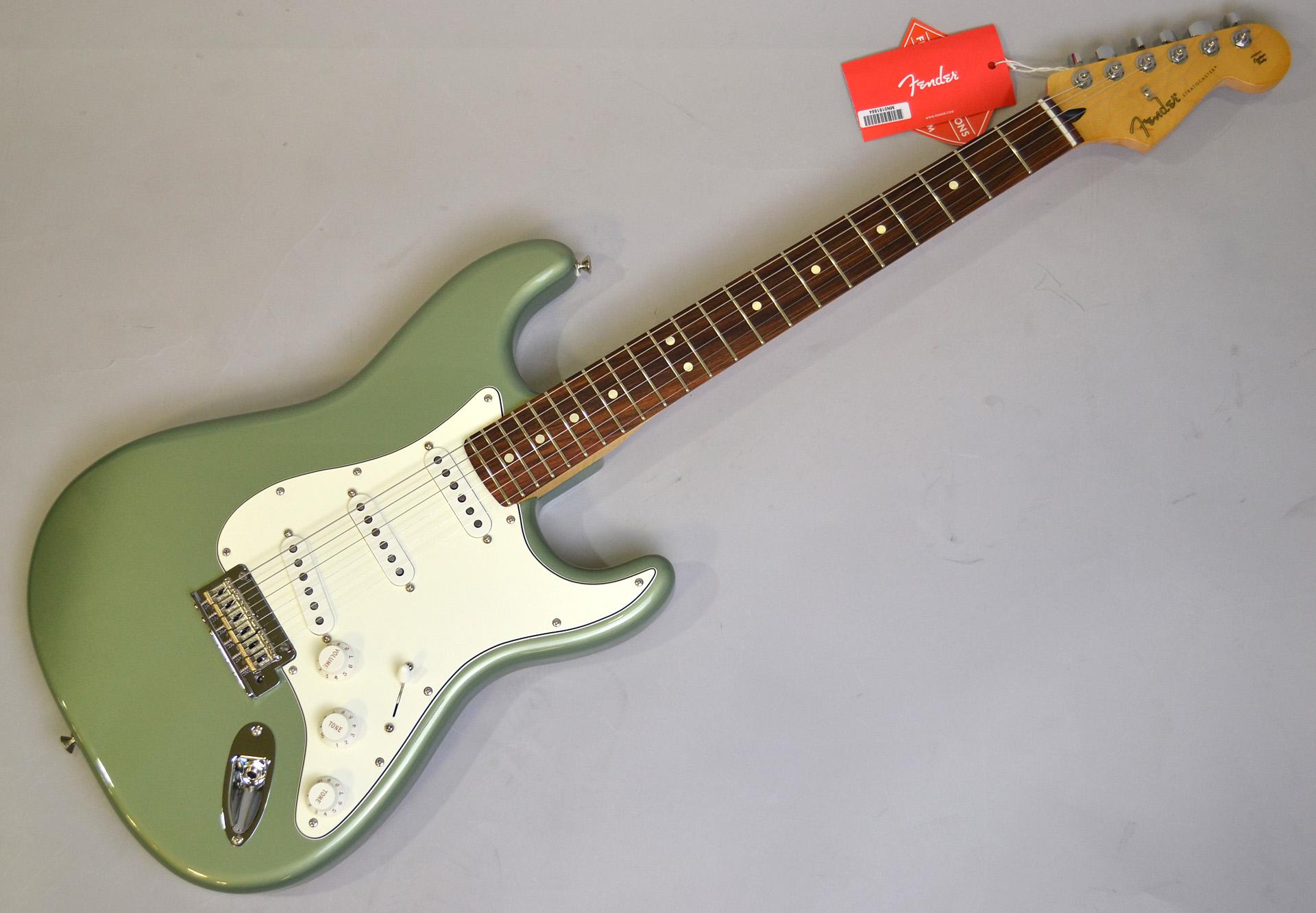 player stratocaster sage green metallic pau ferro fender guitar
