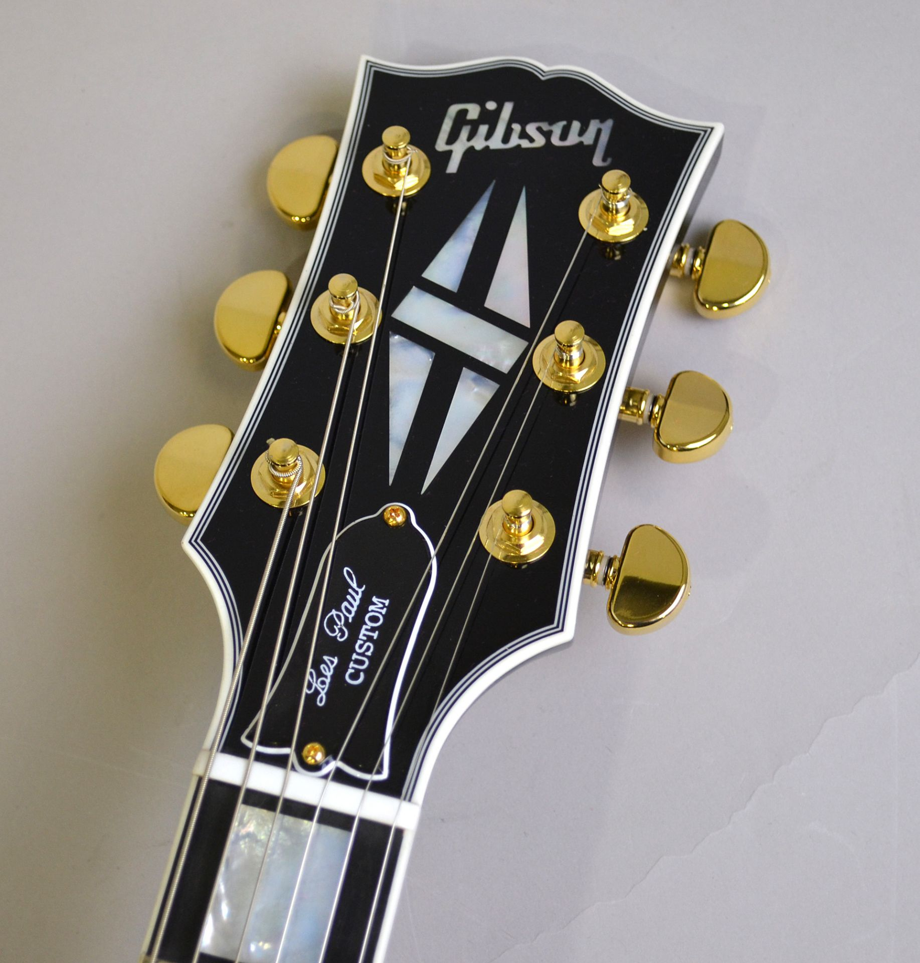 Les Paul Custom Ebony Gold Hardwareのヘッド画像