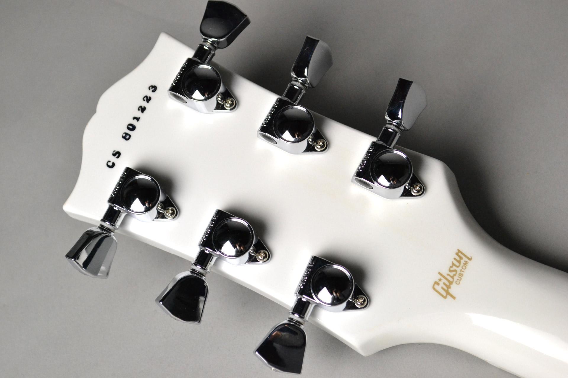 Les Paul Custom 3A Quilt Top Nordic Blue/Alpine White 【ホワイトバック!】のヘッド裏-アップ画像