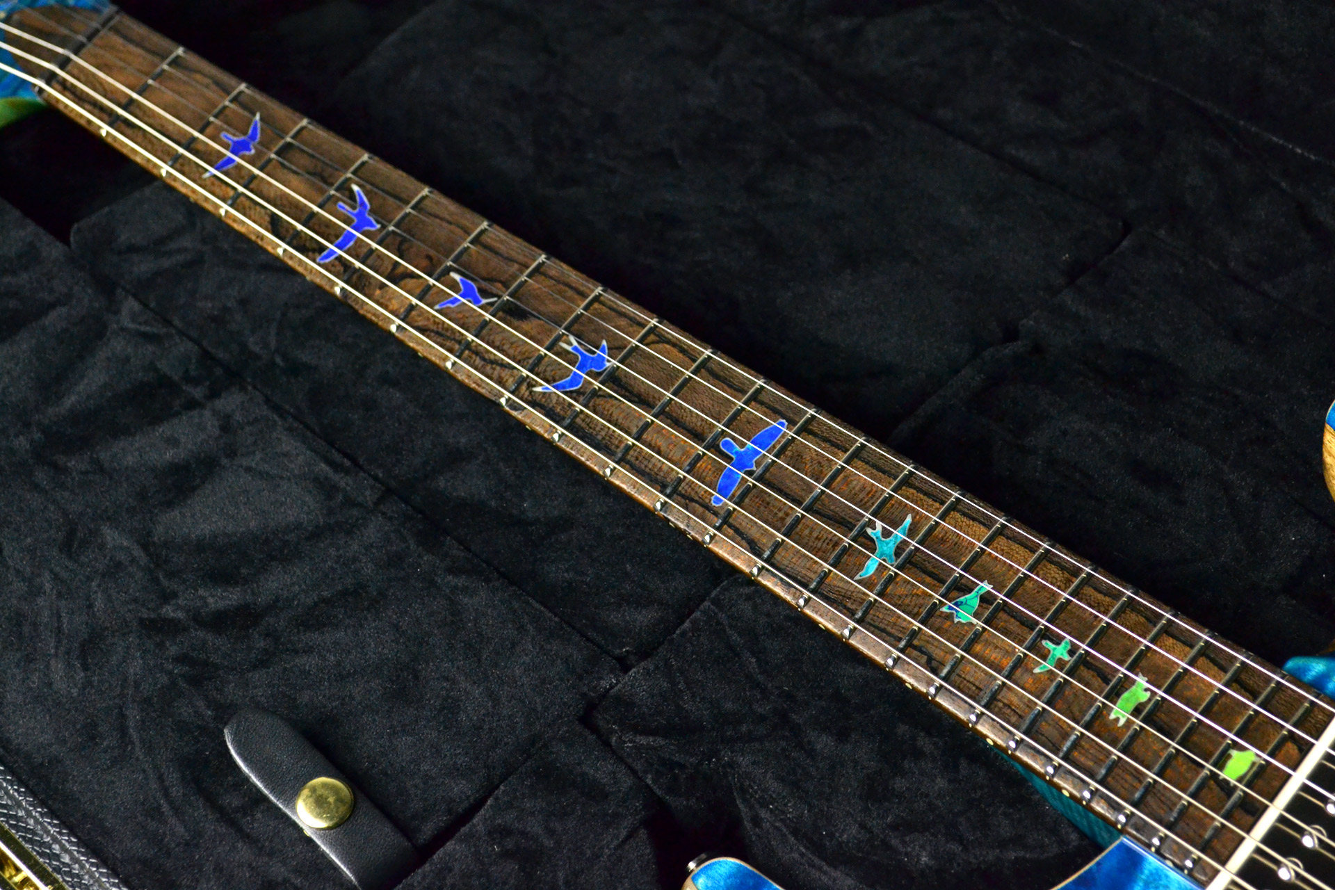 Private Stock #7659 Custom24 3-piece Top Aquamarine&Blue Fade,Luminlay Purflingの指板画像