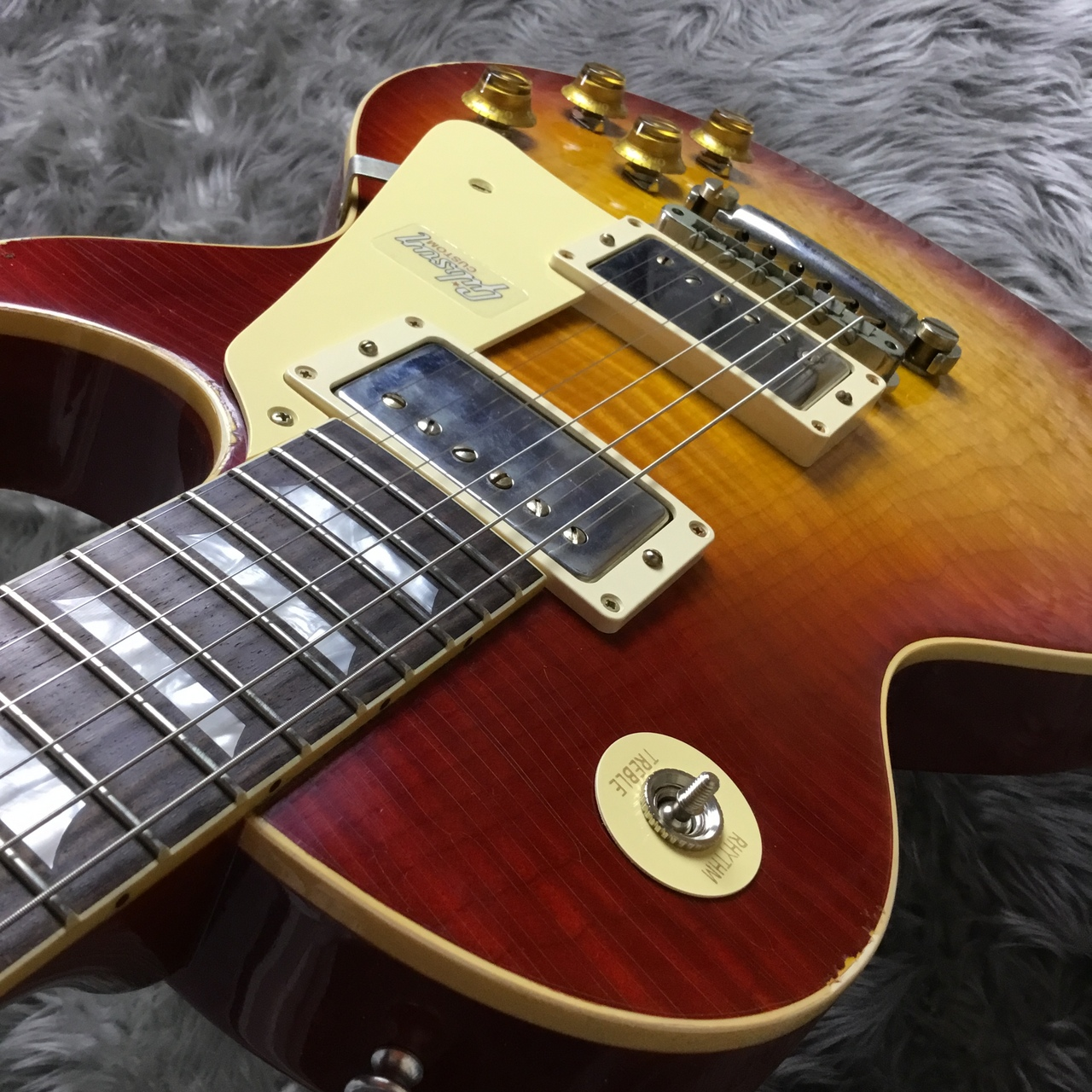 1958 Les Paul Standard Hard Rock Maple Top Crimson Burst Lightly Agedの指板画像