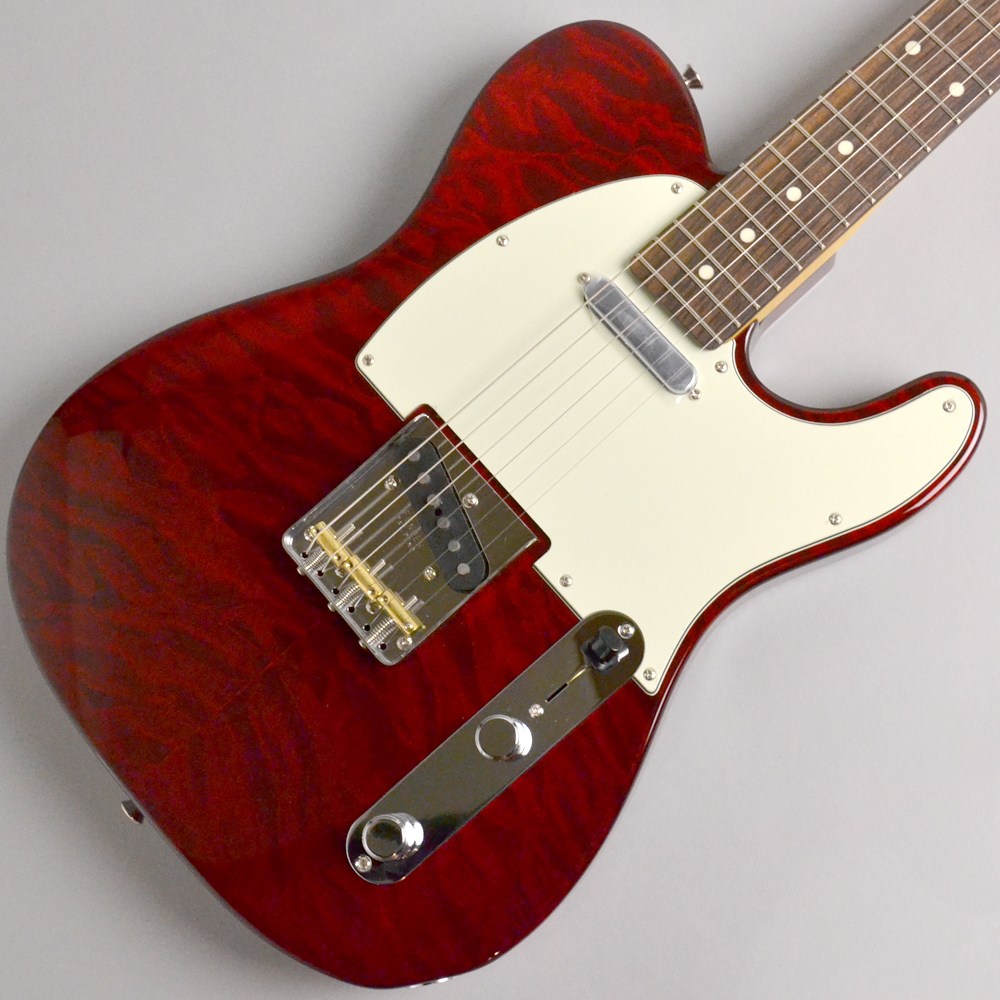 Made in Japan Hybrid 60s Telecaster Quilt Top Transparent Redのボディトップ-アップ画像