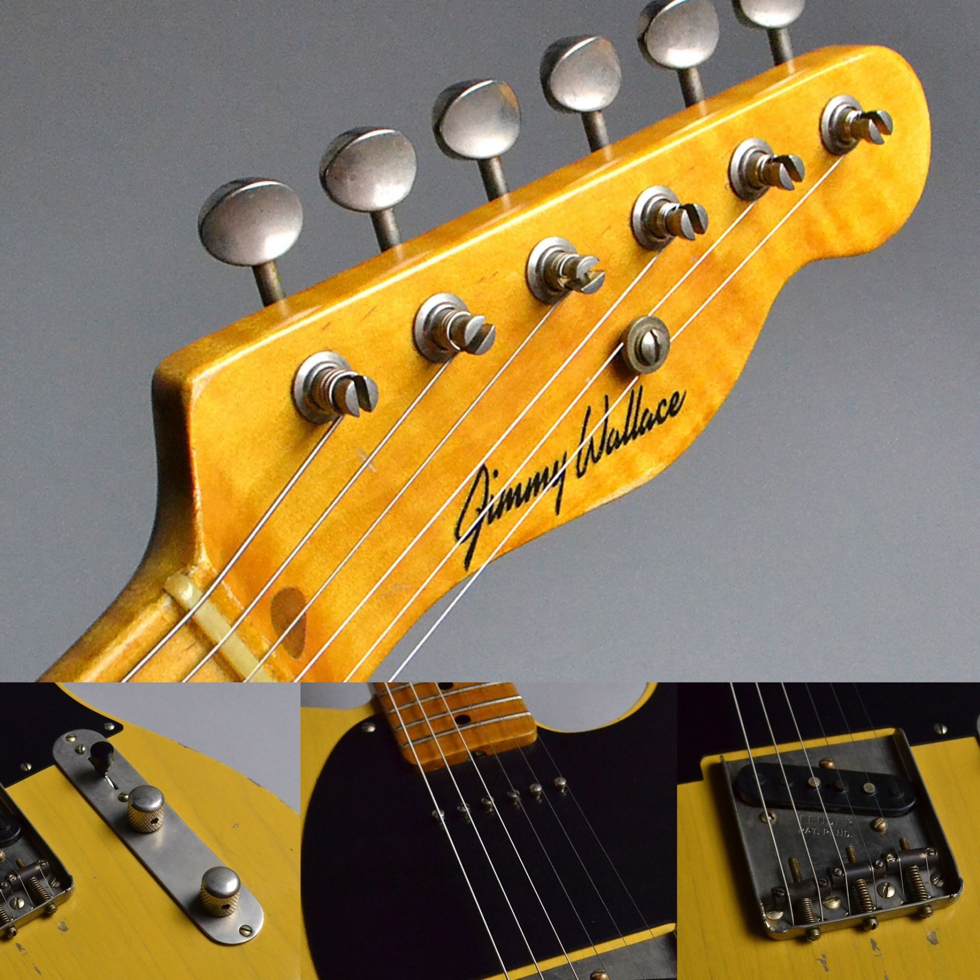 Tele w/P90 MN (Jimmy Wallace Tele Stealth) Butterscotch Blonde (BTB) 【S/N:R16212】のヘッド裏-アップ画像