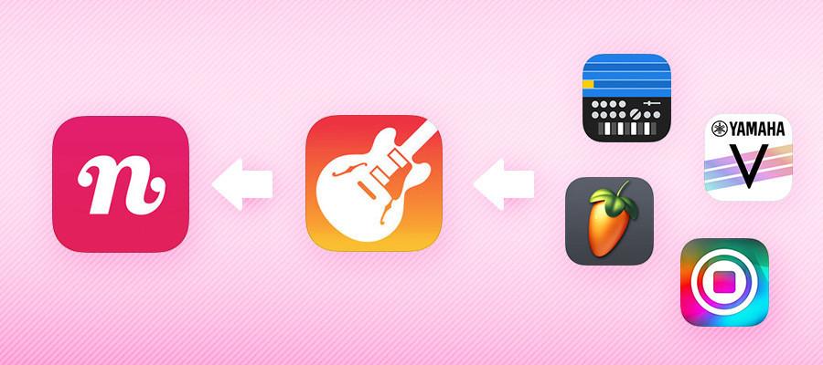 iOSの音楽アプリで作った伴奏曲をnanaにアップするイメージ図