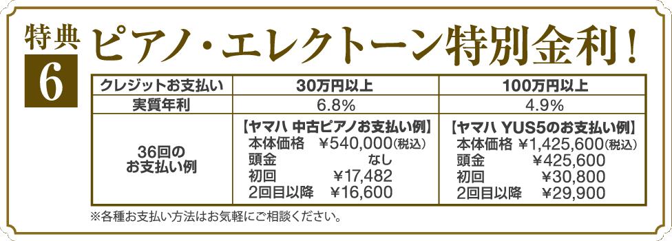 ピアノ&エレクトーン 特別金利 分割お支払プラン